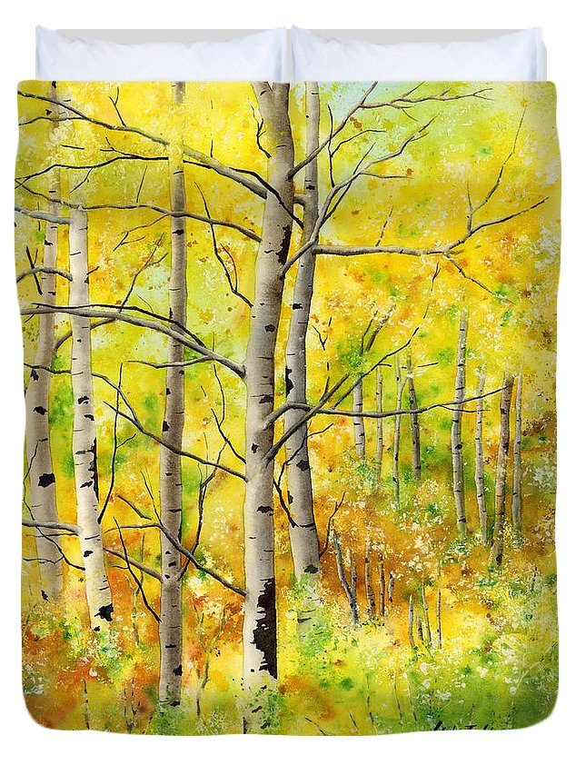 Trees Duvet Cover featuring the painting Spring Aspens by Hailey E Herrera