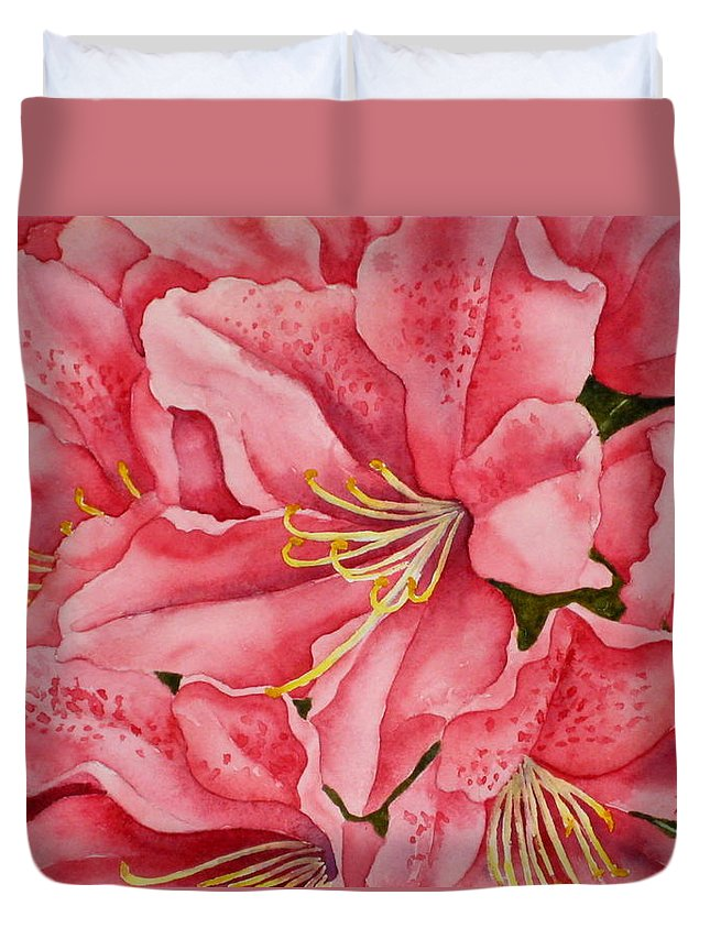 Watercolor Duvet Cover featuring the painting Spring Azalea by Darla Brock
