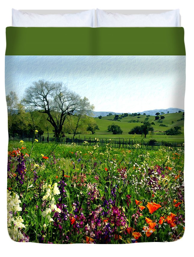Flowers Duvet Cover featuring the photograph Spring Bouquet At Rusack Vineyards by Kurt Van Wagner
