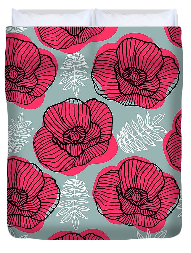 Flowerbed Duvet Cover featuring the digital art Spring Bright Seamless Floral Pattern by Ekaterina Bedoeva