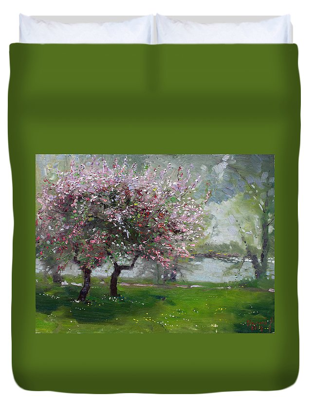 Spring Duvet Cover featuring the painting Spring By The River by Ylli Haruni