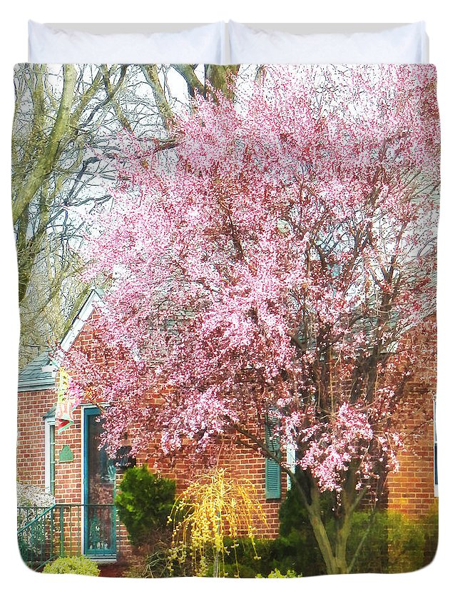 Spring Duvet Cover featuring the photograph Spring - Cherry Tree By Brick House by Susan Savad