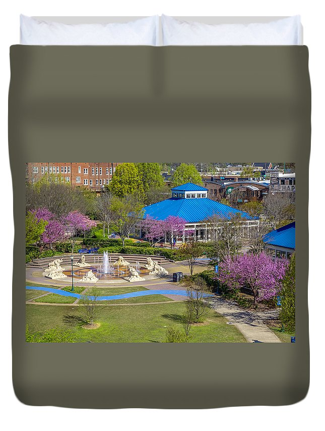 Chattanooga Duvet Cover featuring the photograph Spring Coolidge Park 2 by Tom and Pat Cory