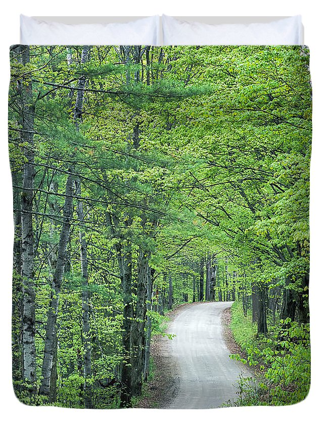 Spring Duvet Cover featuring the photograph Spring Country Road by Alan L Graham