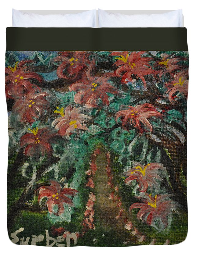 Flowers Duvet Cover featuring the painting Spring Dogwoods by Suzanne Surber