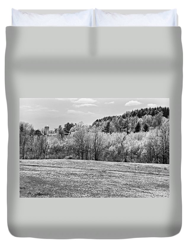 Spring Duvet Cover featuring the photograph Spring Farm Landscape With Dandelions In Maine by Keith Webber Jr