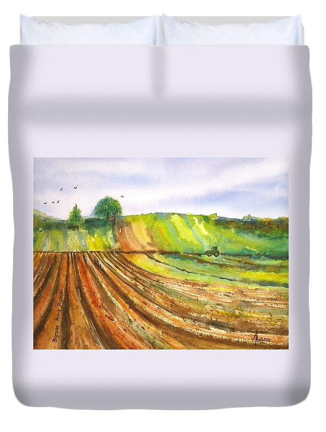 Spring Duvet Cover featuring the painting Spring Fields by Anna Ruzsan