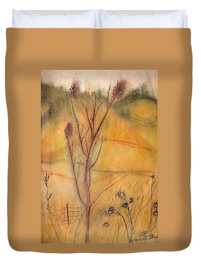 Spring Duvet Cover featuring the drawing Spring Fields by Ian MacDonald