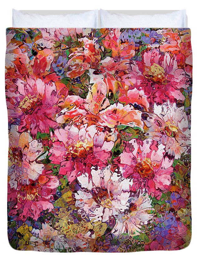 Flowers Duvet Cover featuring the painting Spring Flower Bouquet by Natalie Holland