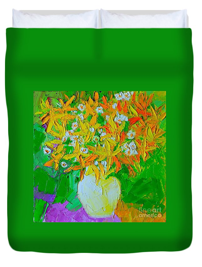 Forsythia Duvet Cover featuring the painting Spring Flowers by Ana Maria Edulescu