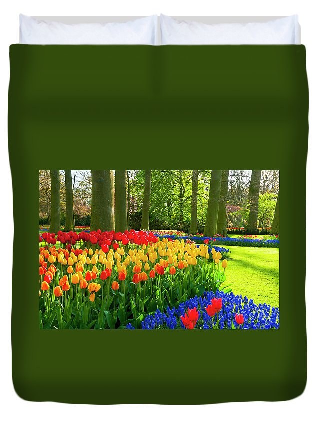 Flowerbed Duvet Cover featuring the photograph Spring Flowers In A Park by Jacobh