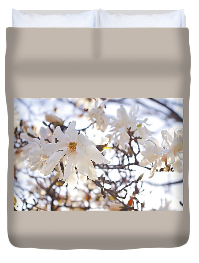 Magnolia Stellata Duvet Cover featuring the photograph Spring Flowers by Sharon Popek