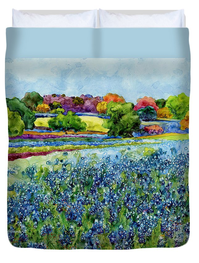 Bluebonnet Duvet Cover featuring the painting Spring Impressions by Hailey E Herrera