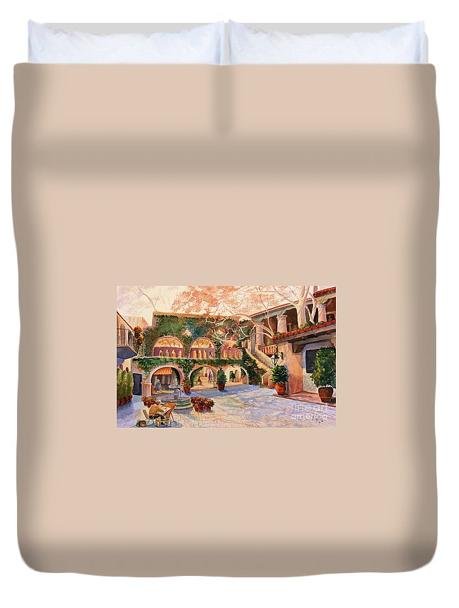 Sedona Duvet Cover featuring the painting Spring In Tlaquepaque by Marilyn Smith