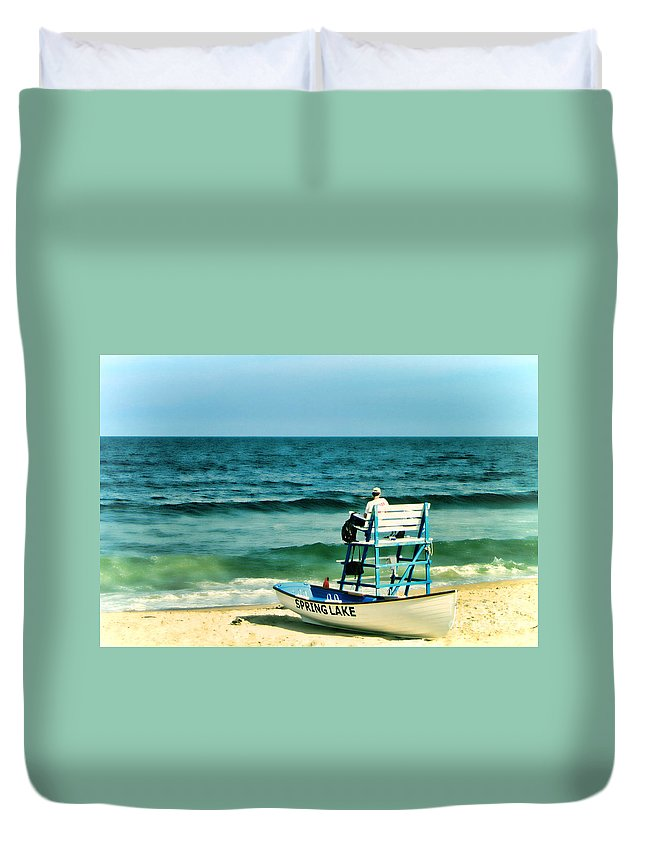 Lifeguard Duvet Cover featuring the photograph Spring Lake by Olivier Le Queinec