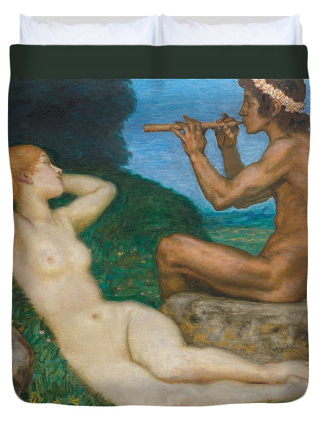 Nude Duvet Cover featuring the painting Spring Love by Franz Von Stuck