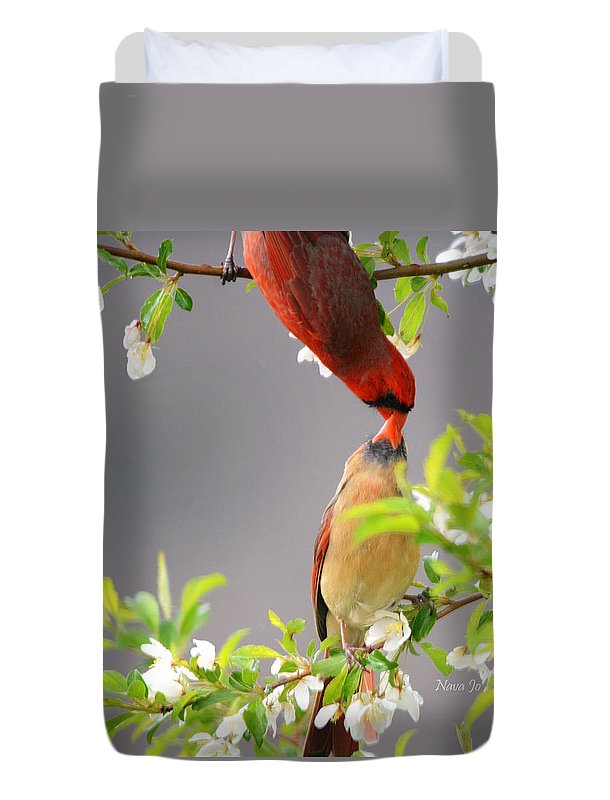 Nature Duvet Cover featuring the photograph Cardinal Spring Love by Nava Thompson