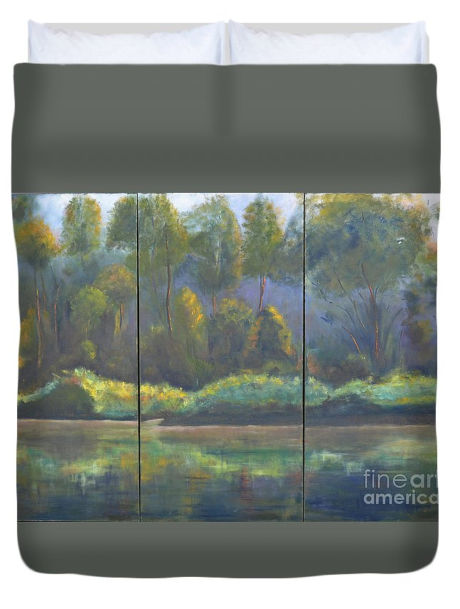 Spring River Coosa Tree Green Water Waterway Sunlight Reflection Tall Tree Blue Sky Yellow Water Front Flow Land Edge Stream Liquid Waterside Channel Duvet Cover featuring the painting Spring On The Coosa by Patricia Caldwell