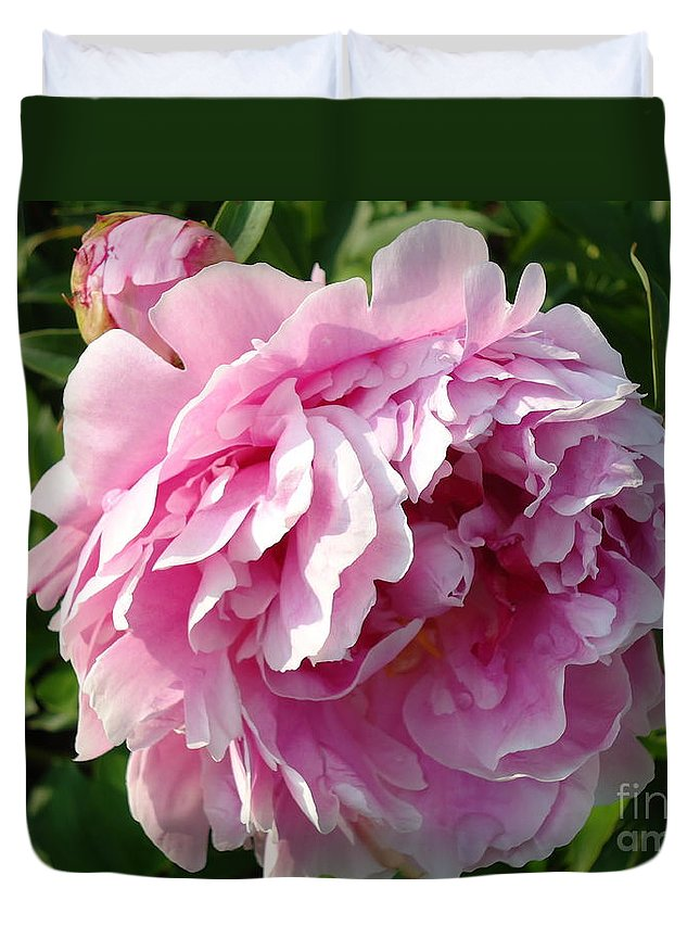 Flower Duvet Cover featuring the photograph Spring Peony by H Cooper