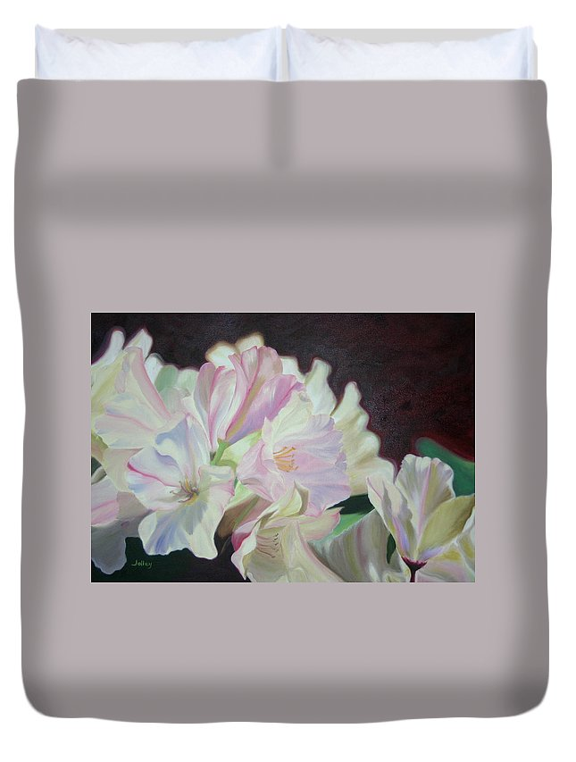 Flower Duvet Cover featuring the painting Spring Rhodys by Nancy Jolley
