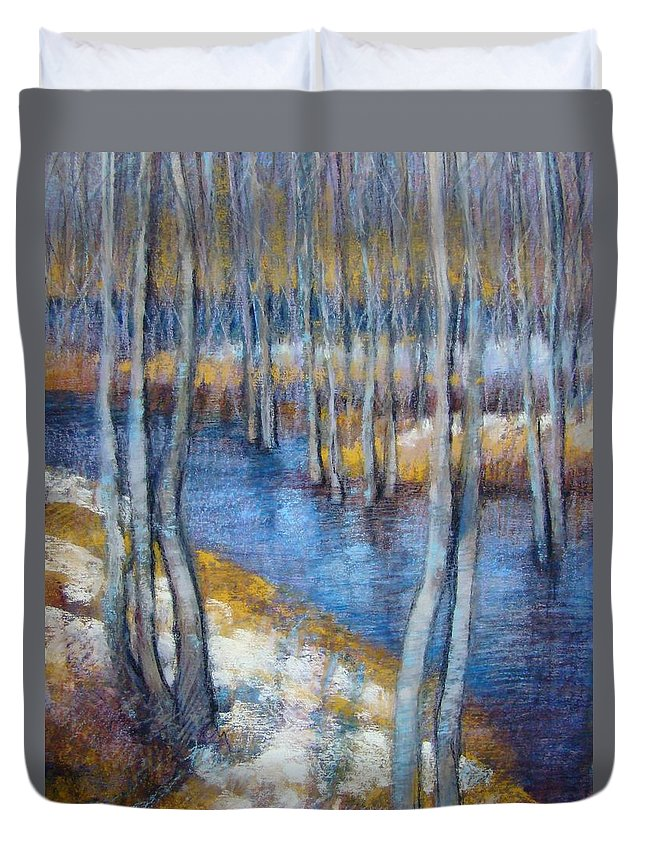 Landscape Duvet Cover featuring the pastel Spring River Thaw by Tonja Sell