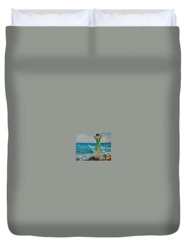 Seascape Duvet Cover featuring the painting Spring by Sefedin Stafa