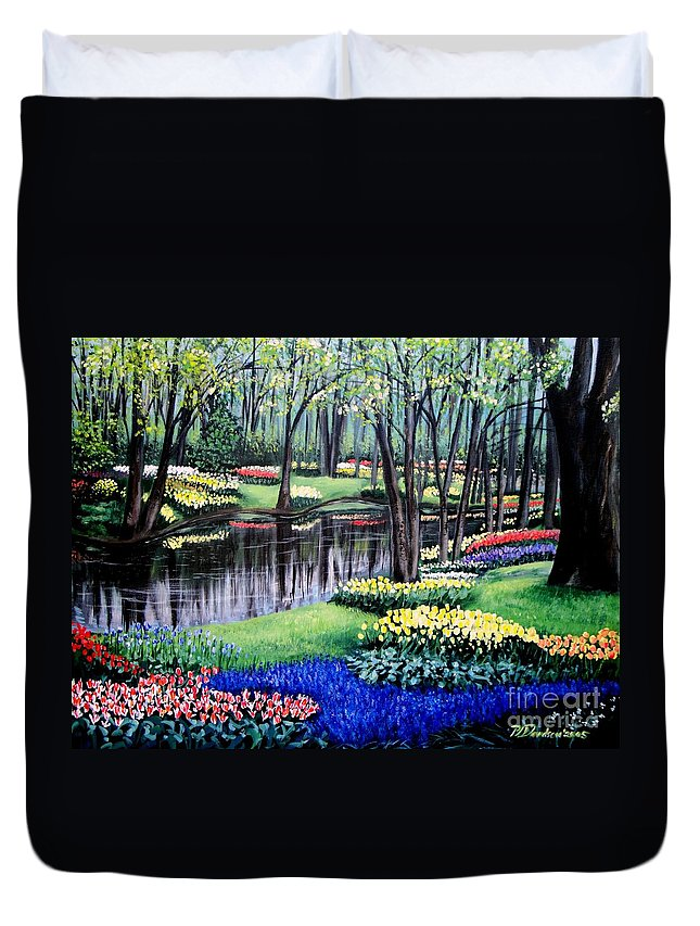 Garden Duvet Cover featuring the painting Spring Spendor Tulip Garden by Patricia L Davidson