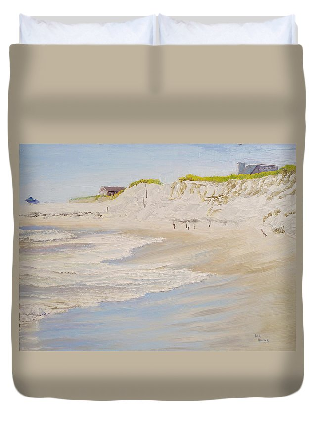 Seascape Duvet Cover featuring the painting Spring Tide After Sandy by Lea Novak