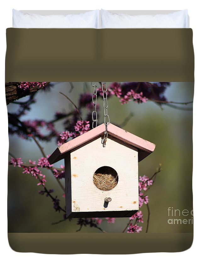 Spring Duvet Cover featuring the photograph Spring Time Bird House by Robert D Brozek