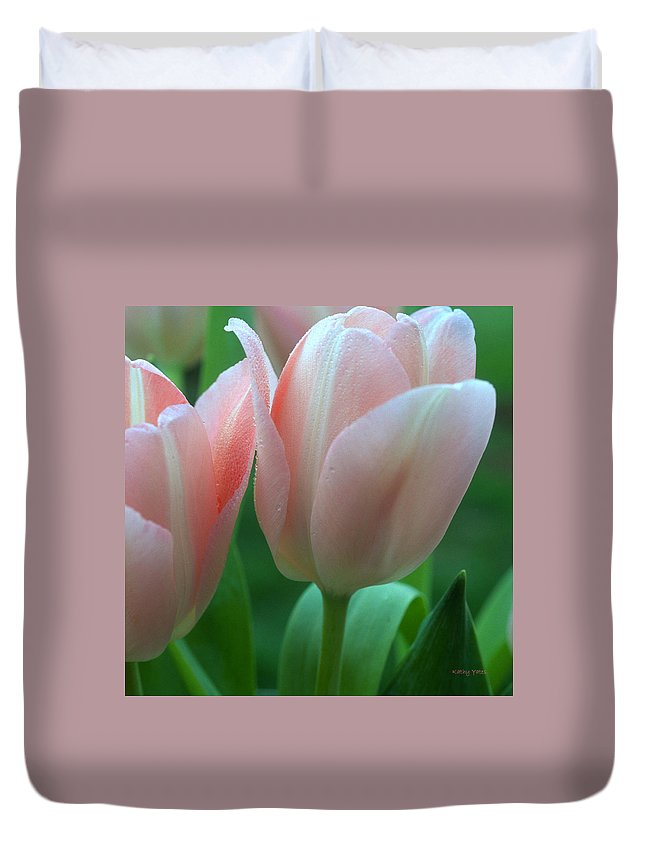 Flowers Duvet Cover featuring the photograph Spring Tulips by Kathy Yates