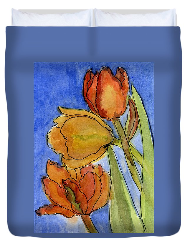 Tulips Duvet Cover featuring the painting Spring Tulips by Wendy Le Ber