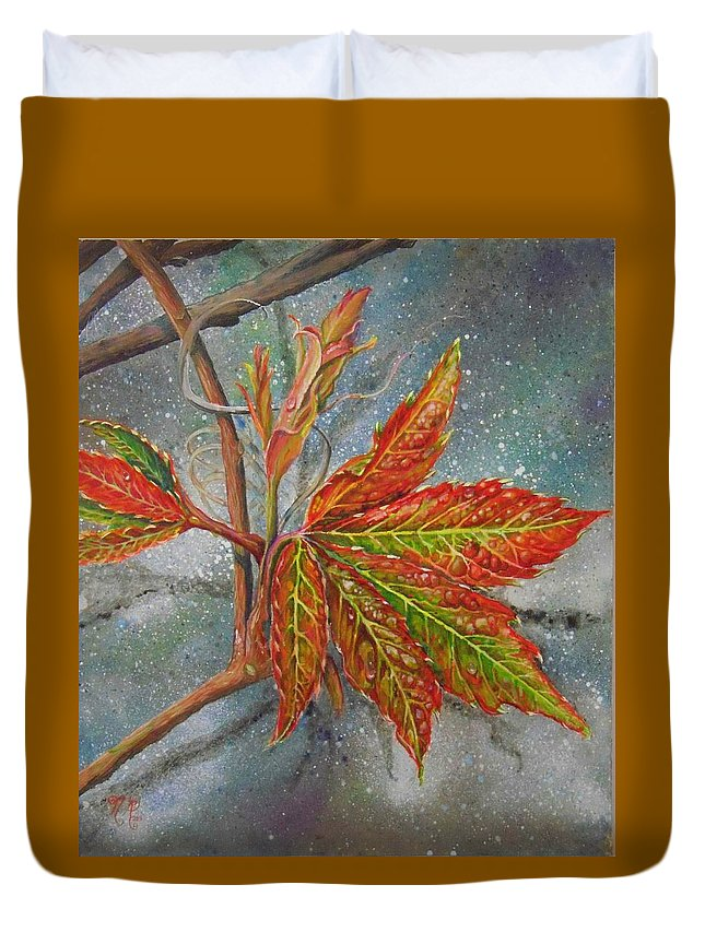 Shenandoah Duvet Cover featuring the painting Spring Virginia Creeper by Nicole Angell