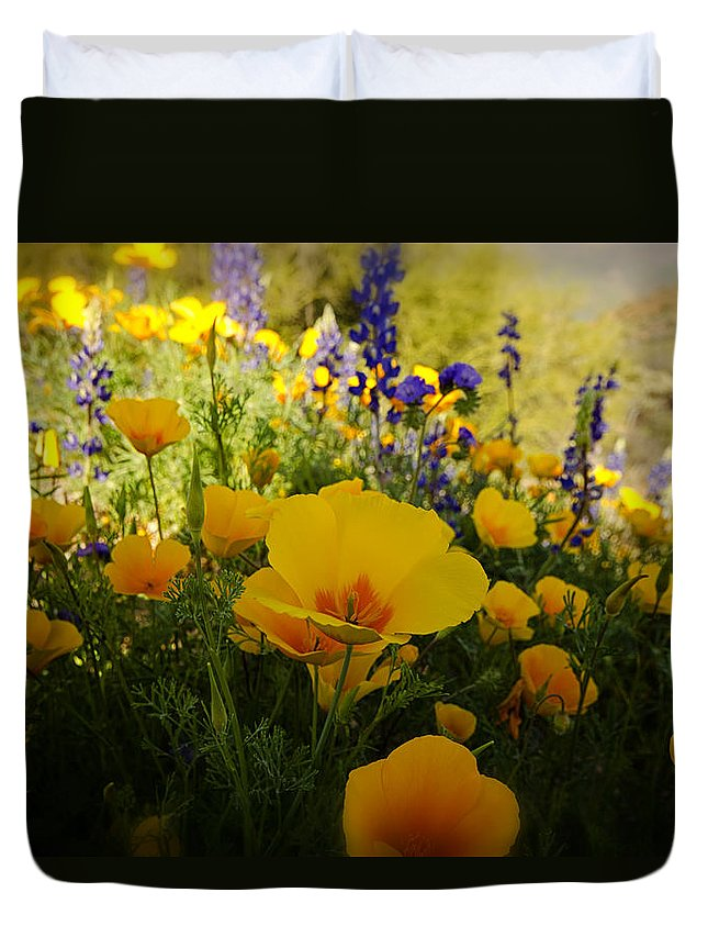 Poppies Duvet Cover featuring the photograph Spring Wildflowers by Saija Lehtonen