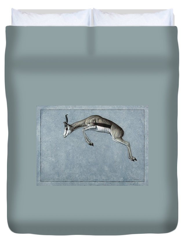 Springbok Duvet Cover featuring the painting Springbok by James W Johnson