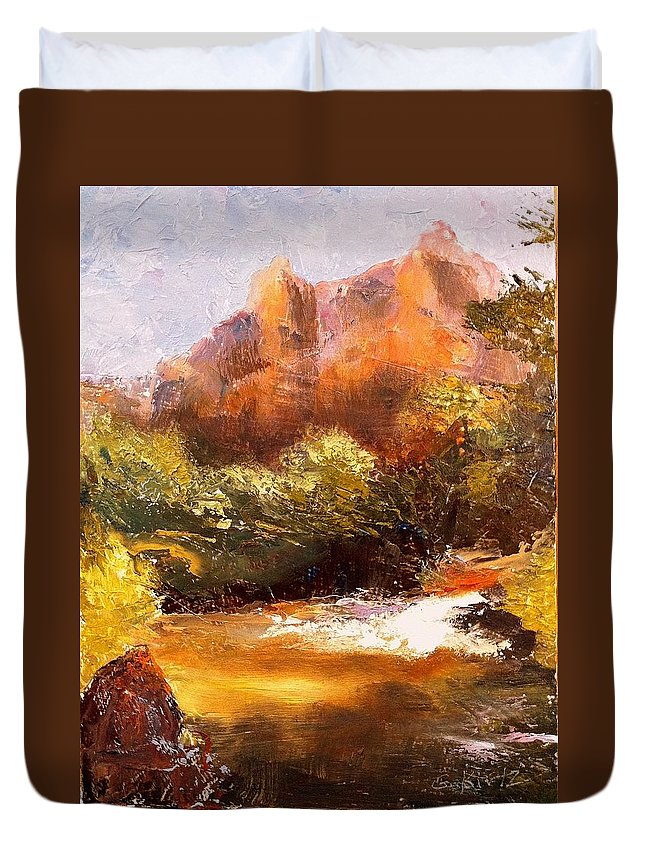 Landscape Duvet Cover featuring the painting Springs In The Desert by Gail Kirtz