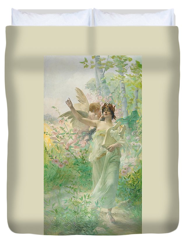 Springtime Allegory Duvet Cover featuring the painting Springtime Allegory by Paul Francois Quinsac
