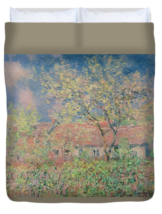 Landscape; Impressionist; Trees; Orchard; Spring; Printemps Duvet Cover featuring the painting Springtime At Giverny by Claude Monet