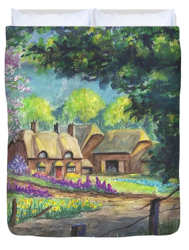 Hand Painted Duvet Cover featuring the painting Springtime Cottage by Carol Wisniewski