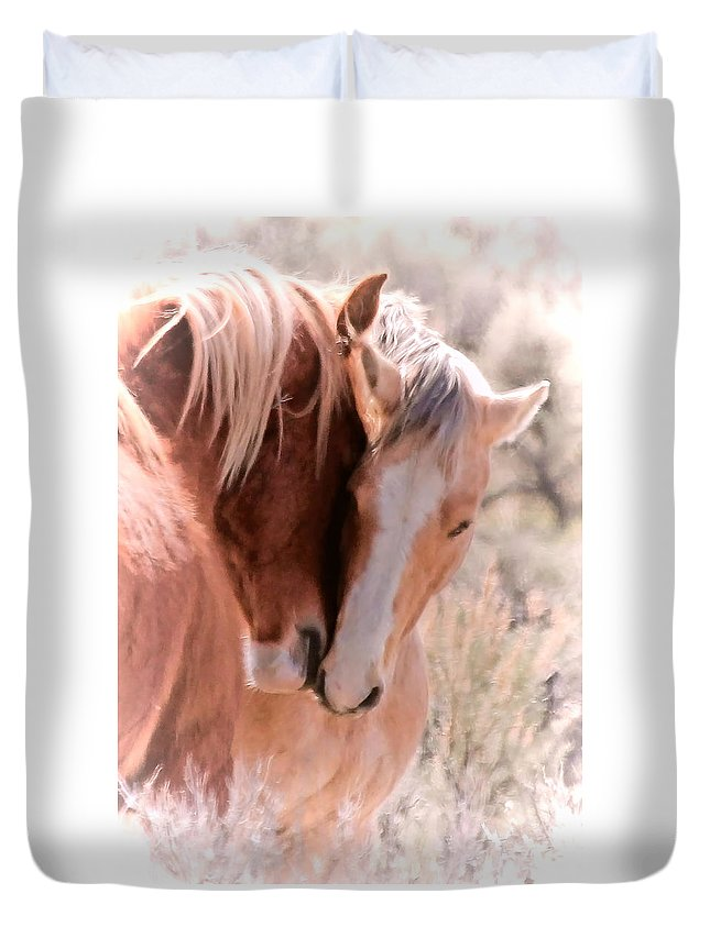 Horses Duvet Cover featuring the photograph Springtime Love by Athena Mckinzie