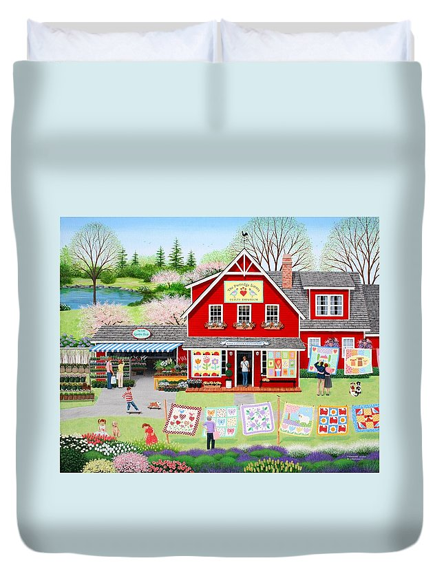 Folkart Duvet Cover featuring the painting Springtime Wishes by Wilfrido Limvalencia