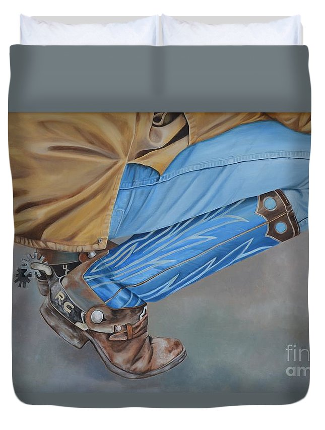 Art Duvet Cover featuring the painting Spur Squatting by Mary Rogers