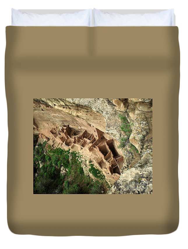 Indian Duvet Cover featuring the photograph Square Tower Ruin by Judy Bottler