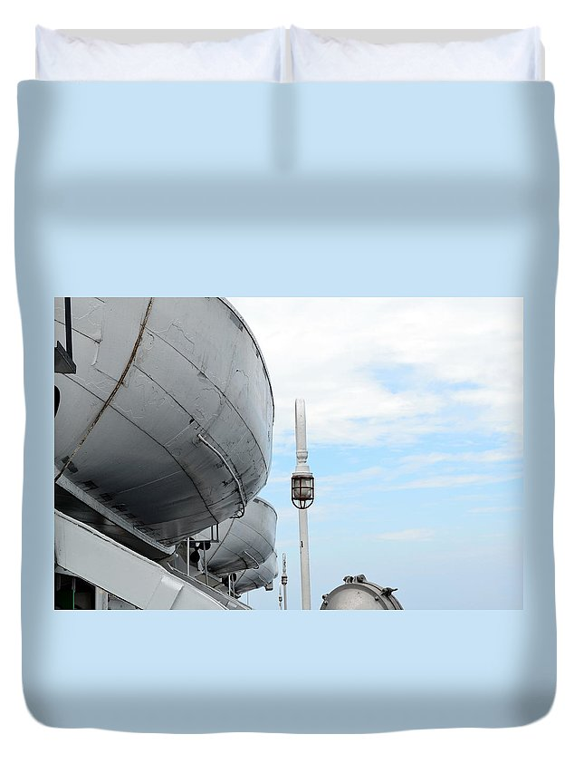 Boat Duvet Cover featuring the photograph S.s. Badger Lifeboats by Michelle Calkins