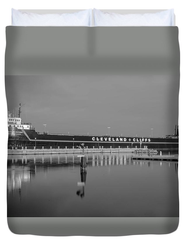 Boat Duvet Cover featuring the photograph Ss William G. Mather by Guy Whiteley