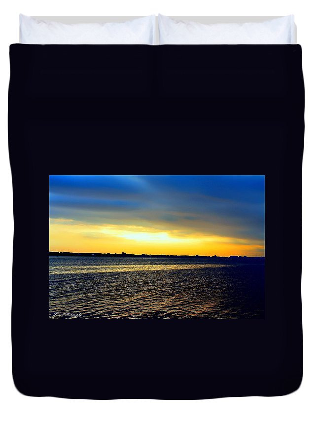Sunset Duvet Cover featuring the photograph St Andrews Bay Sunset by Debra Forand