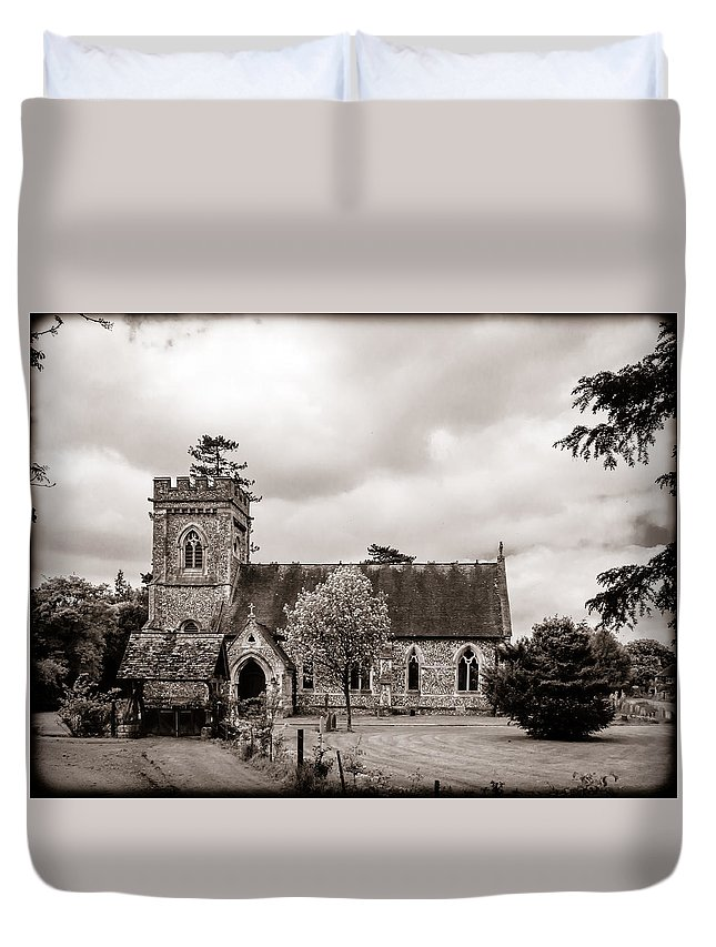 Aisle Duvet Cover featuring the photograph St Barnabas Faccombe by Mark Llewellyn