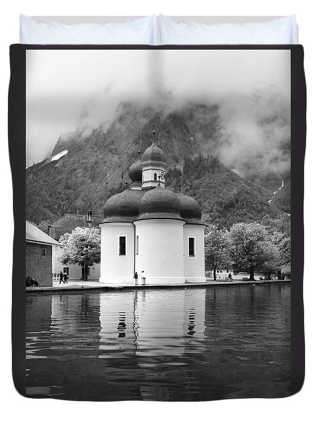 Church Duvet Cover featuring the photograph St. Batholomae At The Lake by Christiane Schulze Art And Photography