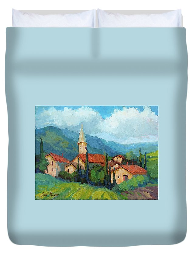 St. Colombe Duvet Cover featuring the painting St. Colombe Provence by Diane McClary