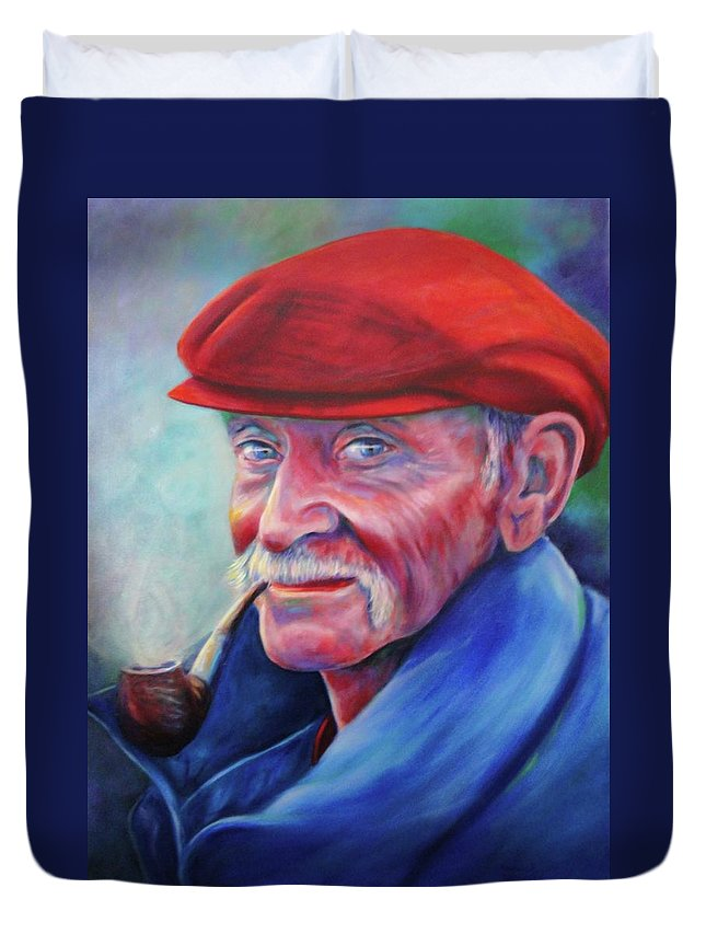 Portrait Duvet Cover featuring the painting St. Francis by Shannon Grissom
