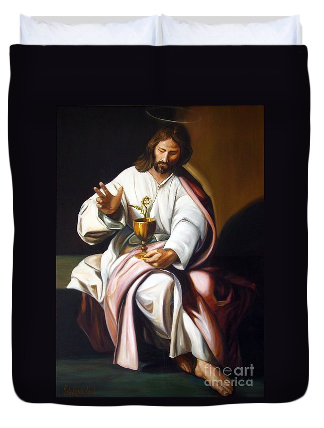 Classic Art Duvet Cover featuring the painting St John The Evangelist by Silvana Abel